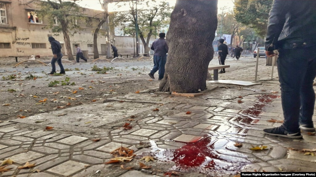 Blood of protesters shot in Marivan, Kurdistan province in Iran seen on the street. Undated