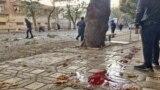 سنگفرش خیابانی در مریوان در جریان اعتراضهای آبان ۹۸