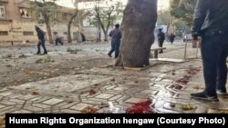 Blood of protesters shot in Marivan, Kurdistan province in Iran seen on the street. Undated