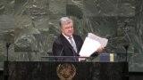 Президент України Петро Порошенко під час виступу на Генеральній асамблеї ООН. Нью-Йорк, 20 лютого 2019 року
