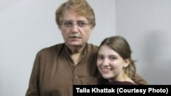 Talia Khattak with her father Idris Khattak who disappeared in November.