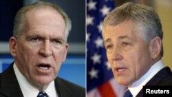 دو نامزد باراک اوباما برای احراز پست وزارت دفاع، چاک هیگل (راست) و جان برنان برای ریاست سازمان سیا