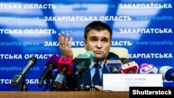 Міністр закордонних справ України Павло Клімкін під час прес-конфренції в Ужгороді, 1 грудня 2017 року