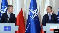 Совместная пресс-конференция генерального секретаря НАТО Йенса Столтенберга и президента Польши Анджея Дуды