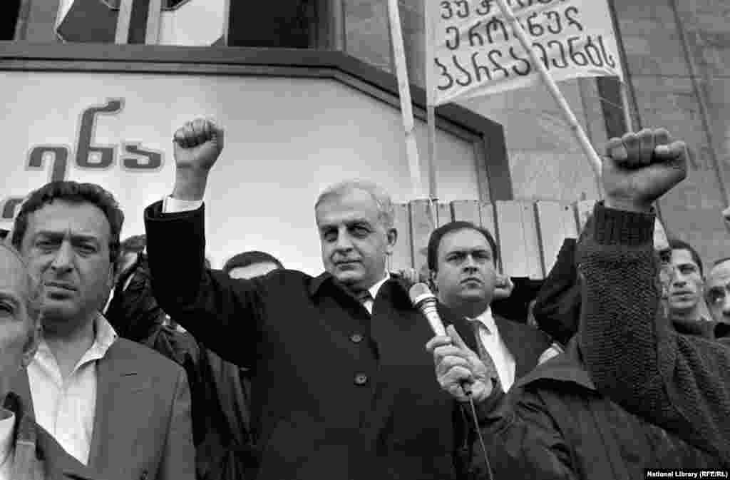 "Zviad Gamsakhurdia (center) takes part in a Tbilisi rally in 1989.   As Georgia pushed for secession from the Soviet Union in the late 1980s, Zviad Gamsakhurdia -- an intellectual who pushed a hard-line, ethnic-nationalist message -- maneuvered into power. He was elected Georgian president in 1991 with nearly 90 percent of the vote. A philosopher reacted to Gamsakhurdia's ""Georgia for the Georgians"" platform by declaring: ""if this is the choice of my people, then I'm against my people."""