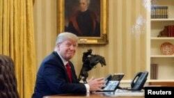 Дональд Трамп в Овальном кабинете Белого дома под портретом Эндрю Джексона