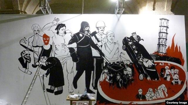 "Ukrainian artist Volodymyr Kuznetsov's ""Koliivschina: Judgment Day"""