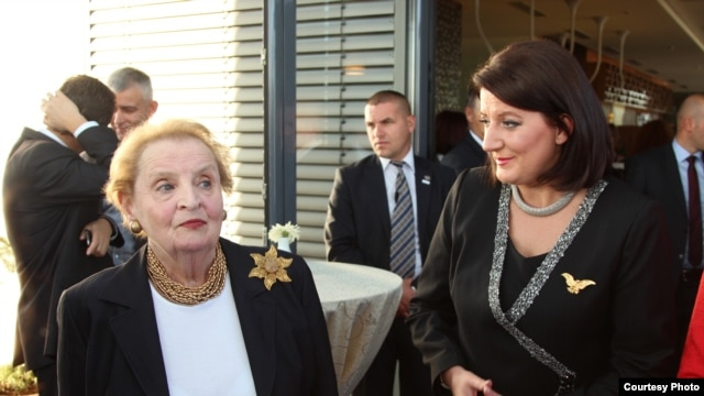 Kosovo President Atifete Jahjaga and former U.S. Secretary of State Madeleine Albright at the women's conference in Pristina.