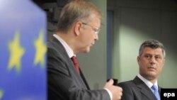 Bruksel - Komisionari për zgjerim i BE-së, Olli Rehn, dhe kryeministri i Kosovës, Hashim Thaçi, në konferencë për media, 11 korrik 2008.
