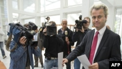 The Dutch far-right Party for Freedom leader, Geert Wilders, casts his vote in the The Hague on June 4.