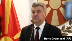 Macedonian President Gjorge Ivanov addresses the media in the presidential office in Skopje on June 13.