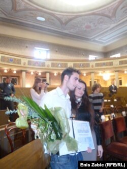Dobitnik nagrade Luka Ritz Dominik Bartolović sa sestrom Nives, 16. studeni 2011.
