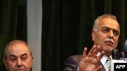 الهاشمي وعلاوي في مؤتمر صحفي ببغداد عام 2010