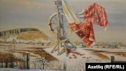 Рәссам Вәгыйз Шәйхетдиновның күргәзмәдәге картинасы