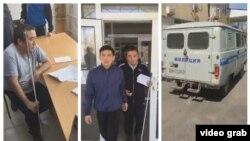 Момент задержания Ормукова (стоп-кадры, взятые из прямого эфира на его странице в Facebook'е).