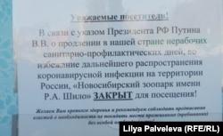 Объявление у входа в Новосибирский зоопарк