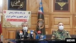 Admiral Mostafa Maddah, Head of Army Health, and Admiral Habbibollah Sayyari, Deputy Commander of Iran's regular Army, at a meeting of Bio-Defense Headquarters. March 23, 2020.
