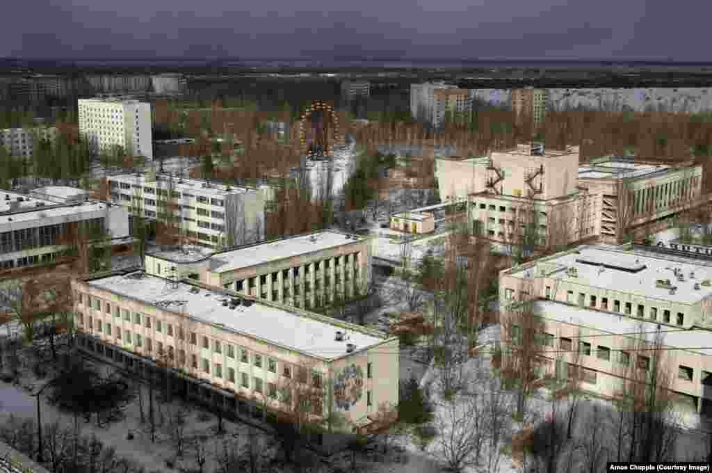 The abandoned town of Pripyat, 3 kilometers from Soviet-built Chernobyl power plant. Following the 1986 nuclear disaster, a region of land the size of Luxembourg was declared unlivable and unusable for agriculture.