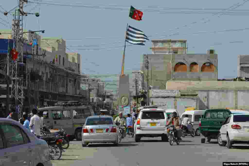 Political activists are still keen to hoist their flags on this important Turbat landmark.