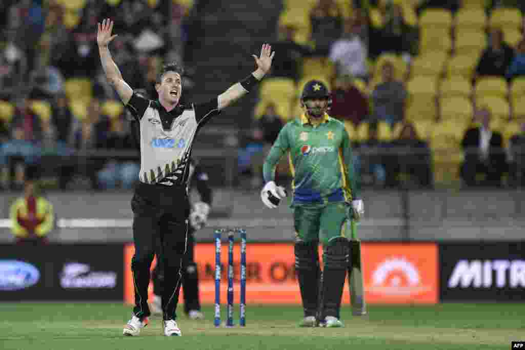 New Zealand -- Adam Milne (L) of New Zealand appeals for a catch on Anwar Ali of Pakistan during the third T20 cricket match between New Zealand and Pakistan at Westpac Stadium in Wellington on January 22, 2016.