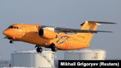 A Saratov Airlines Antonov An-148 takes off from Domodedovo airport outside Moscow.