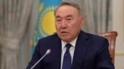 KAZAKHSTAN -- Kazakh President Nursultan Nazarbaev speaks during a televised address to inform of his resignation in Astana, March 19, 2019