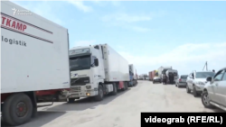Some 250 trucks were reportedly stuck on the Kyrgyz side of the border with Kazakhstan.