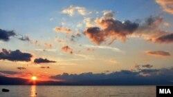 Macedonia - Lake Ohrid, sunset, sun - Jun2012