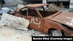 """Надпись """"Сирия Асада"""" на автомобиле в Хомсе"""