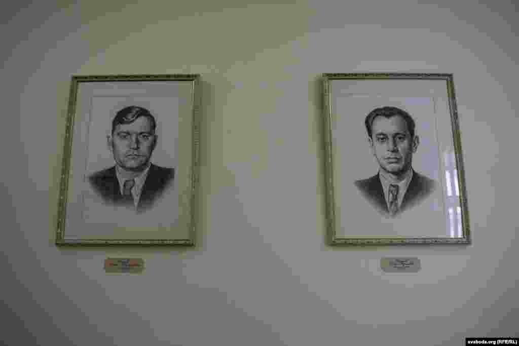 Партрэт Пятра Машэрава (справа). Ён кіраваў ЛКСМБ у 1947–1954 гадах