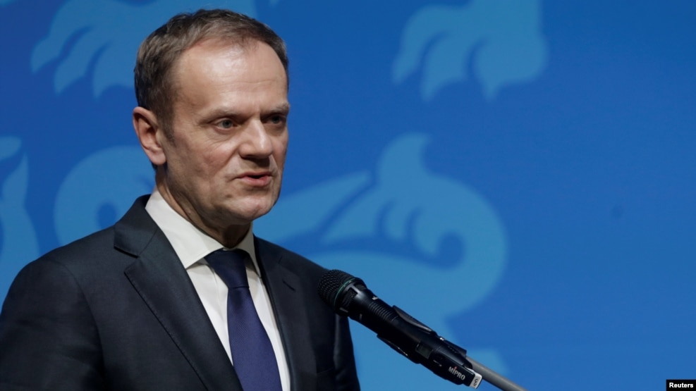 European Council President Donald Tusk speaks during a news conference in Tallinn, Estonia, on January 31.