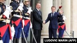 Ադրբեջանի նախագահ Իլհամ Ալիևը և Ֆրանսիայի նախագահ Էմանյուել Մակրոնը, Փարիզ, արխիվ:
