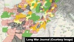 На цій мапі чорним позначені адміністративні райони Афганістану, контрольовані талібами, червоним і помаранчевим – контрольовані частково, жовтим і зеленим – де таліби мають присутність, про незафарбовані райони немає даних