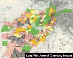 The Long War Journal website attempted to show the Taliban claims over a map of Afghanistan.