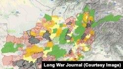 На мапі чорним позначені райони Афганістану, контрольовані талібами, червоним і помаранчевим – контрольовані частково, жовтим і зеленим – де таліби мають присутність, про незафарбовані райони немає даних (квітень 2017 року)