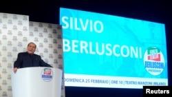 Silvio Berlusconi, leader of the Forza Italia party, campaigns.