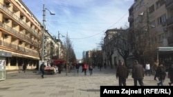 Kosovo -- Mother Teresa Square in Pristina (city, town, people, street), 16Feb2016