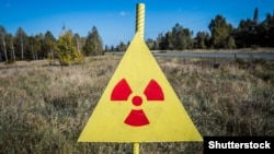 Знак біля «Рудого лісу» у зоні відчуження