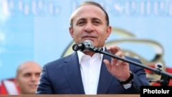 Armenia - Prime Minister Hovik Abrahamian addresses a pro-government youth camp in Tsaghkadzor, 18Aug2014.