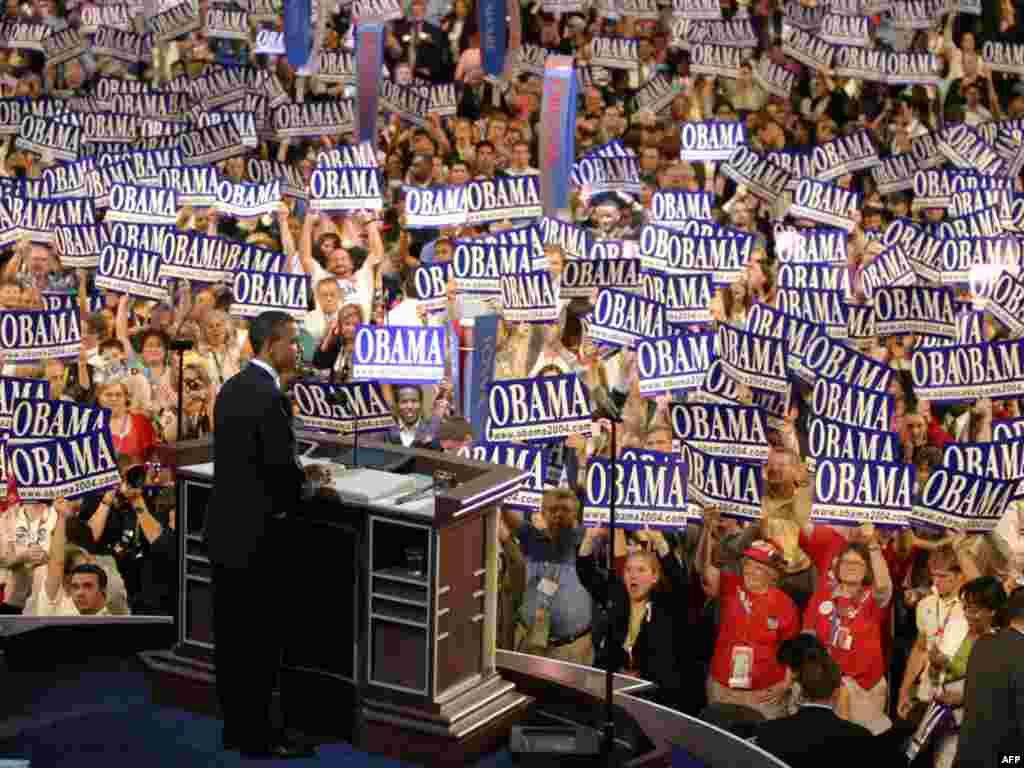 مجمع ملی حزب دموکرات در بوستون سال ۲۰۰۴، باراک اوباما نامزد انتخابات سنا از ايلينويز
