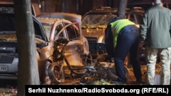 Наслідки вибуху біля будівлі телеканалу Еспресо, місце замаху на депутата Ігора Мосійчука. Київ, 25 жовтня 2017 року