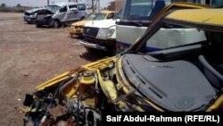 آثار حادث مروري على سيارة في الكوت