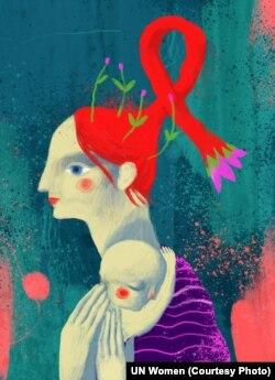 Переважна більшість жінок, що живуть з ВІЛ, перебуває у репродуктивному віці: 18–45 років. Майже половина з них дізналася про свій статус під час вагітності, але багато жінок завдяки медичним програмам профілактики передачі ВІЛ від матері до дитини змогли народити здорових малят (автор ілюстрації: Дана Рвана)