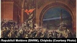 """""""Asaltul Palatului de Iarnă"""", pictură sovietică"""