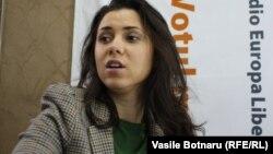 Natalia Morari în studioul Europei Libere la Chișinău