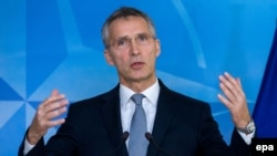 Belgium -- NATO Secretary-General Jens Stoltenberg delivers remarks after the US elections at the alliance's headquarters in Brussels, November 9, 2016
