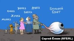 Big Brother (Большой Брат) conduce societatea rusă. Caricatură de Serghei Elkin