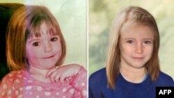 Фотография потерявшейся трехлетней девочки Мадлен Маккан из Великобритании (слева) и компьютерная модель ее внешнего вида на 2012 год.