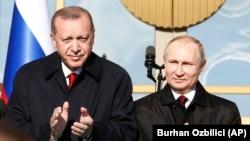 Реджеп Эрдоган и Владимир Путин (справа), Анкара, 3 апреля 2018 г.