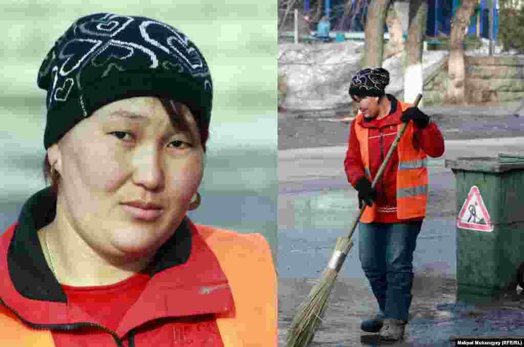 26-летняя Базаргуль Алиярова, мать четырех детей, работает дворником и мечтает приобрести собственный участок земли, чтобы построить там дом. Алматы, 2 марта 2013 года.